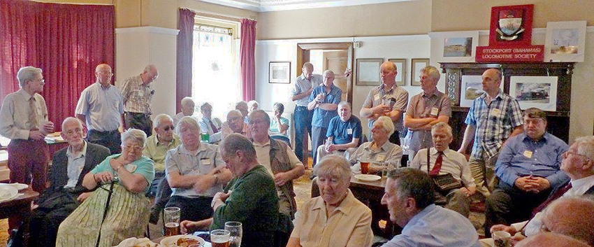 Some of the attendees at the 50th anniversary meeting at the Crown Hotel, Stockport.