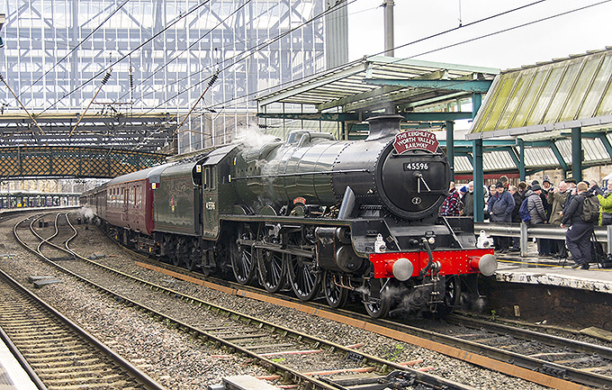 45596 'Bahamas' on arrival at Carlisle  with its first rail tour following its HLF-supported overhaul. Saturday, 9th February 2019 - photo Ian Dixon