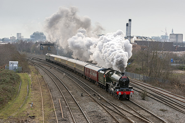 45596 Bahamas at Washwood Heath with the loaded test run on 31 January.   photo by John Barrance.