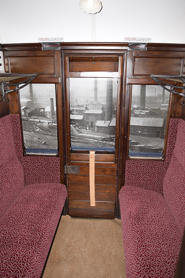 Third class compartment in September 2017 with its restoration almost complete.