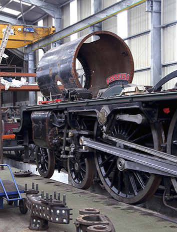 At Tyseley on 28 October 2017 with the smokebox in situ for a trial fitting.